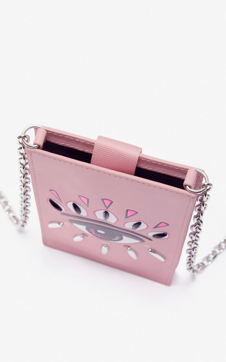 PASTEL PINK Eye leather phone case with chain for unisex KENZO