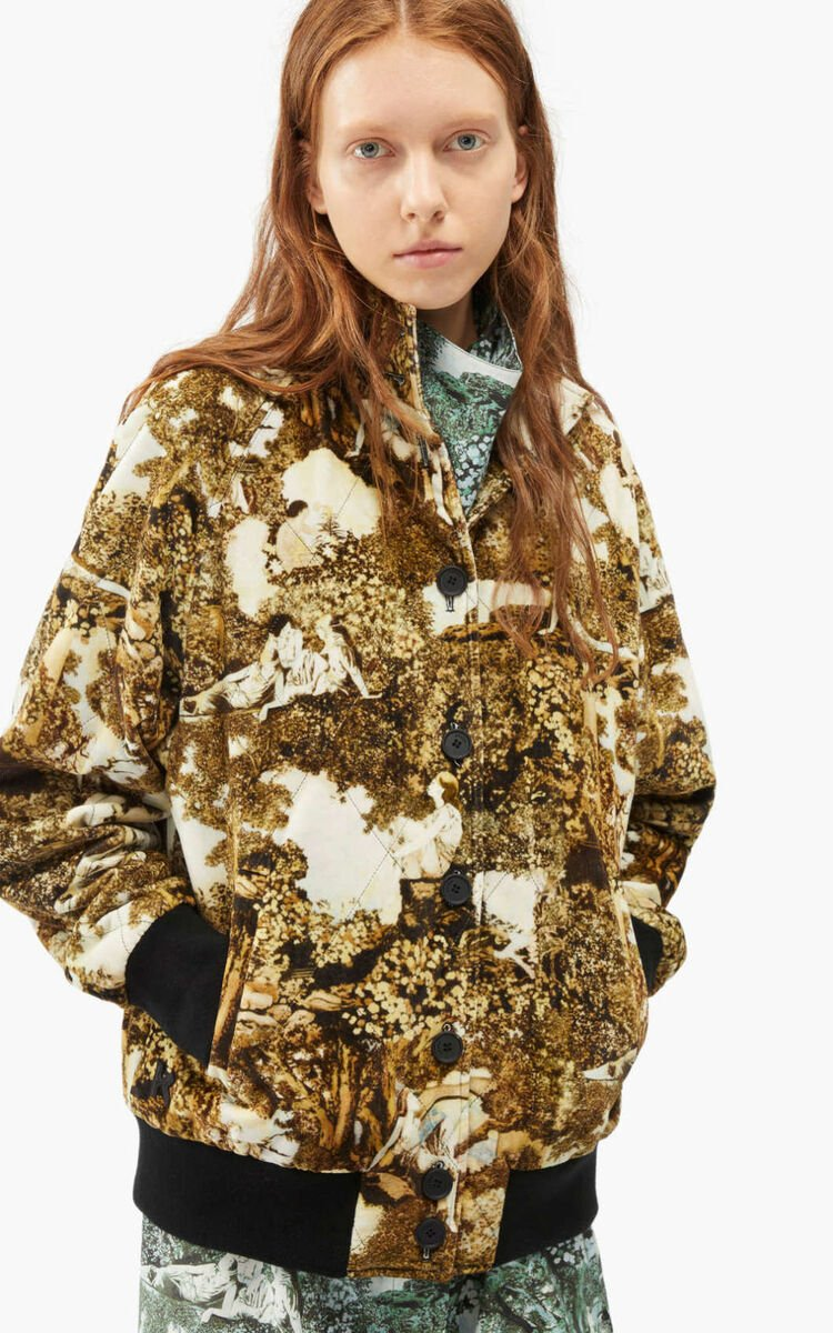 DARK CAMEL 'Dreamers' quilted bomber jacket for women KENZO