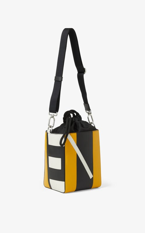 GOLDEN YELLOW Kube small leather tote bag for unisex KENZO