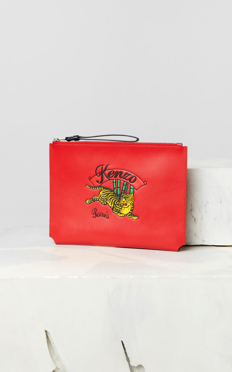 MEDIUM RED A4 'Jumping Tiger' leather clutch  for men KENZO