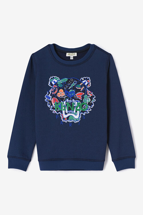 NAVY BLUE Symbols and Tiger Sweasthirt for men KENZO