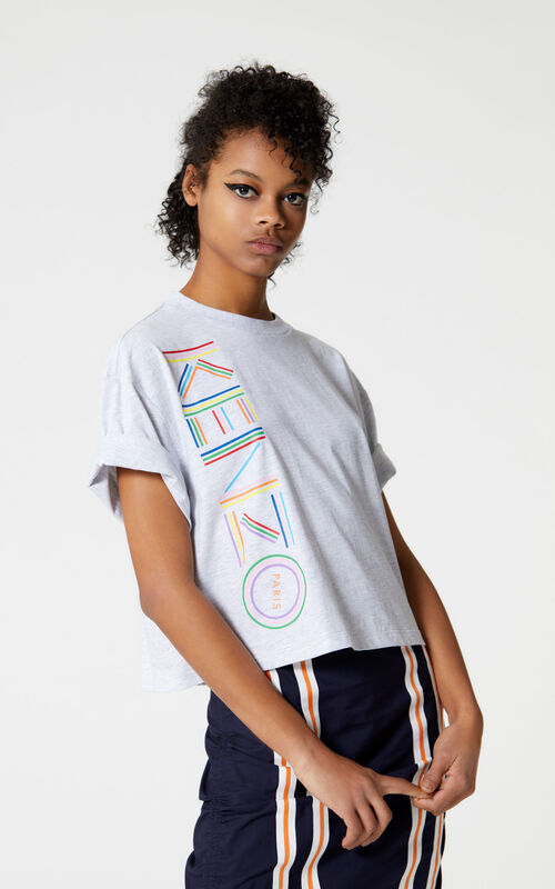 PALE GREY Boxy t-shirt with Kenzo logo for women