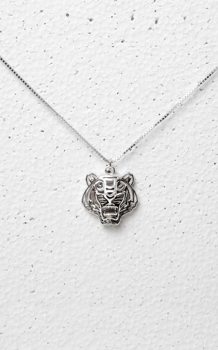 SILVER 3D Tiger Necklace for unisex KENZO