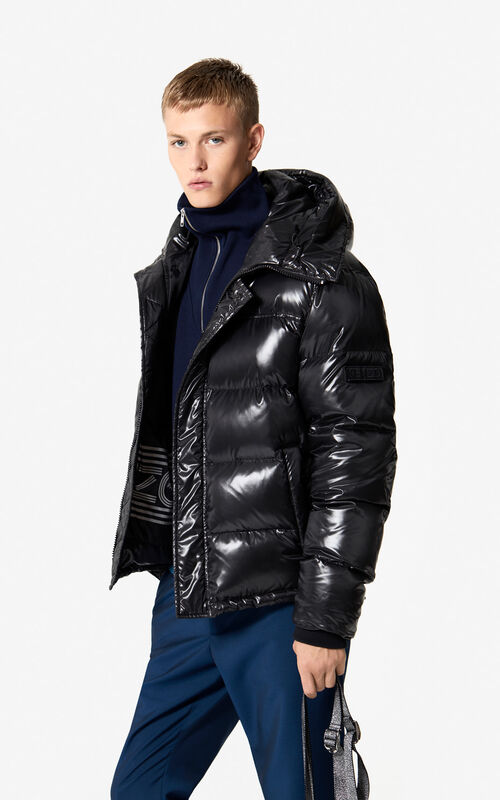 BLACK Quilted winter jacket with hood 'Holiday Capsule' for men KENZO