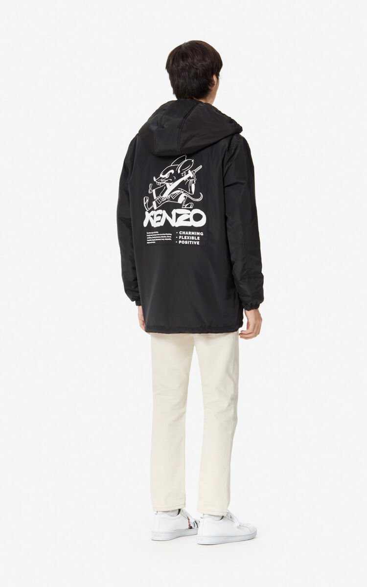 BLACK 'Chinese New Year Capsule' 'Kung Fu Rat' reversible parka for men KENZO