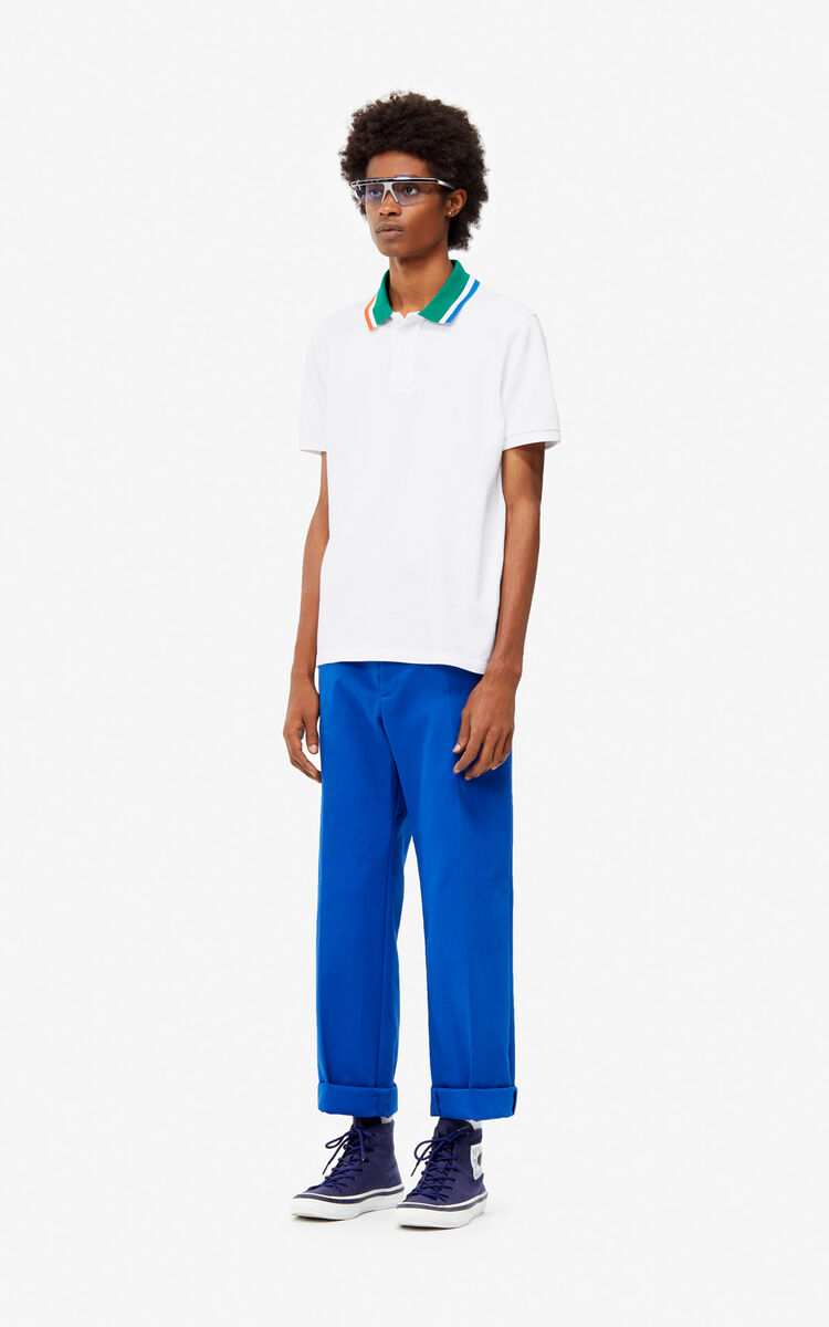 WHITE Fitted colorblock polo for men KENZO