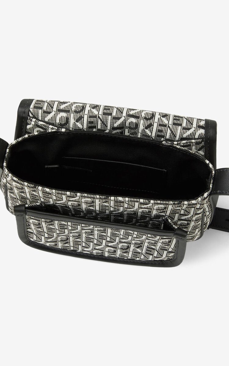 MISTY GREY Small jacquard Courier messenger bag for women KENZO