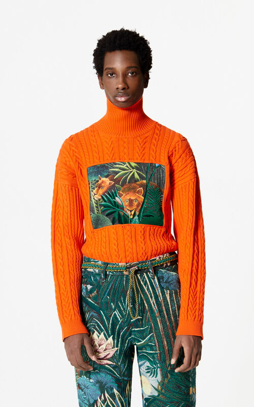 MEDIUM ORANGE Printed turtleneck jumper for men KENZO