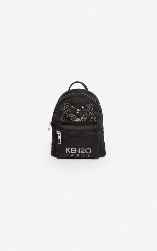 BLACK Mini satin Tiger rucksack 'Holiday Capsule' for unisex KENZO