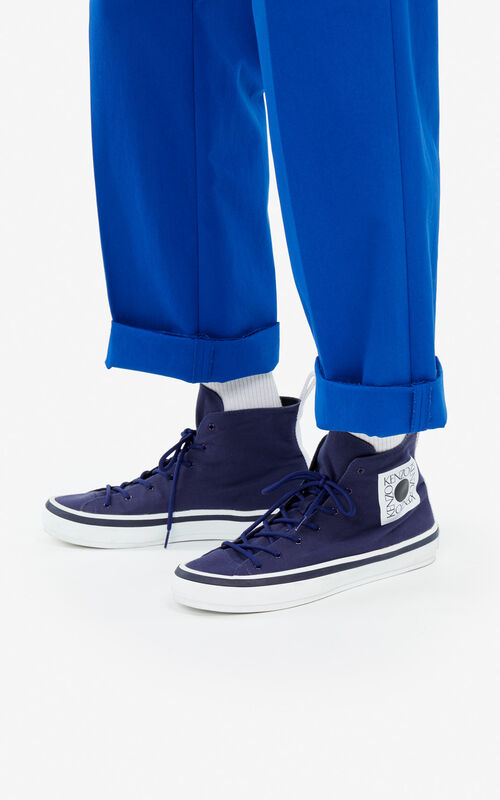 MIDNIGHT BLUE 'Square Logo' K-Street sneakers for men KENZO