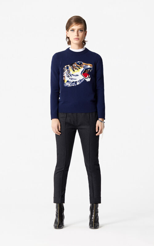 NAVY BLUE 'Tiger Head' Sweatshirt 'Go Tigers Capsule' for women KENZO