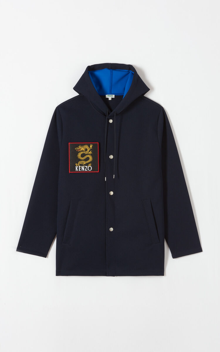 NAVY BLUE Hooded jacket with patches for men KENZO