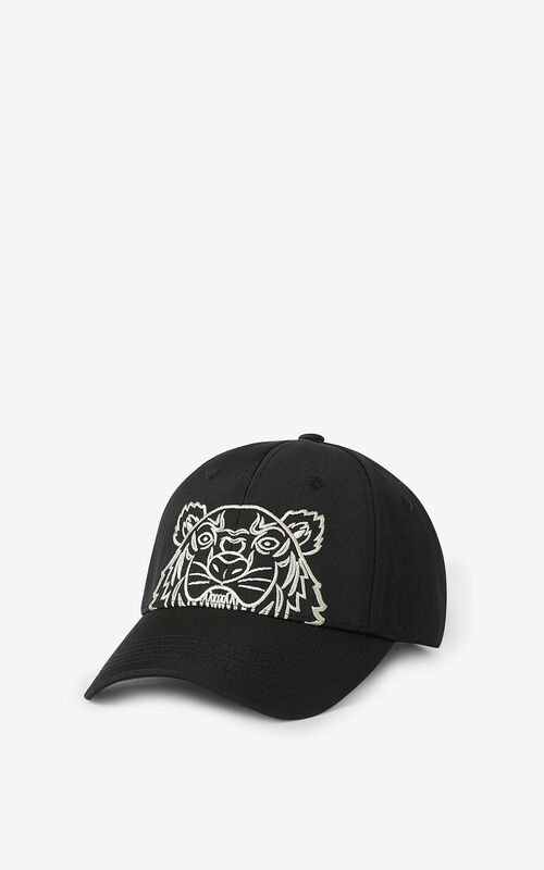 BLACK Canvas Kampus Tiger cap for unisex KENZO