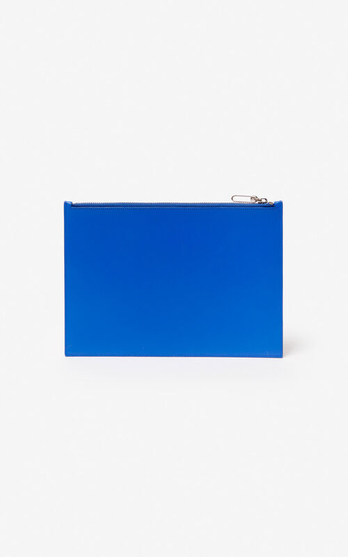COBALT A4 KENZO Colorblock leather clutch for men