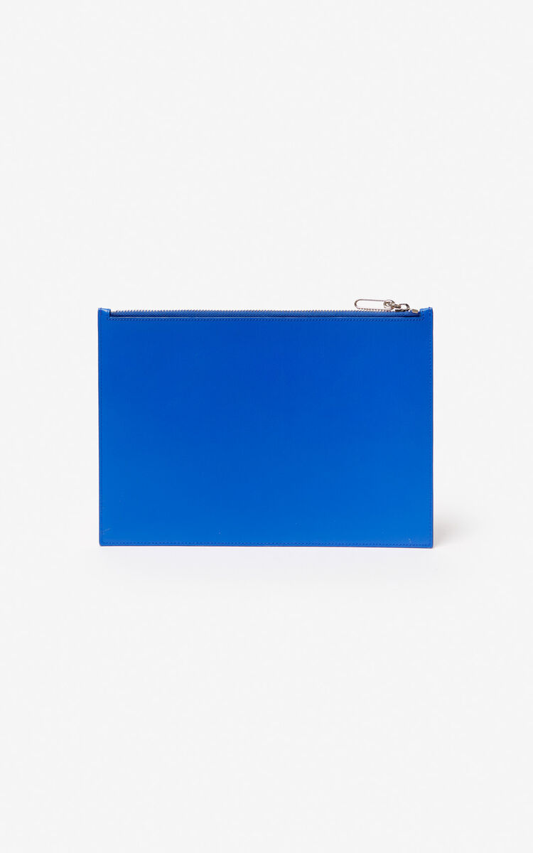 COBALT A4 KENZO Colorblock leather clutch for women