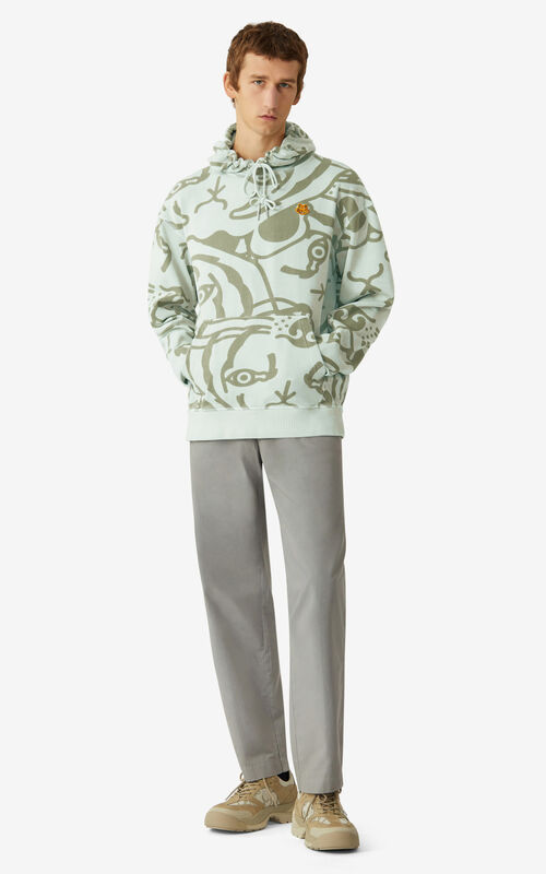 SAGE GREEN K-Tiger oversize hooded sweatshirt    for men KENZO