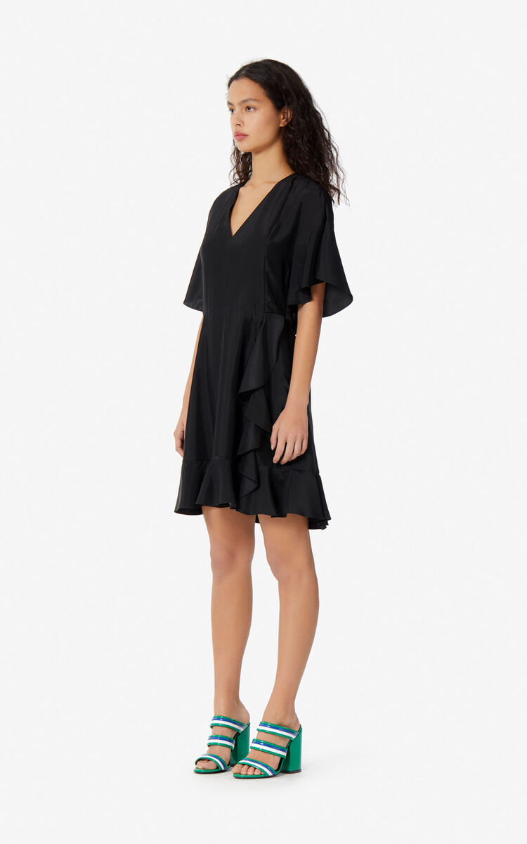 BLACK Ruffled dress for women KENZO