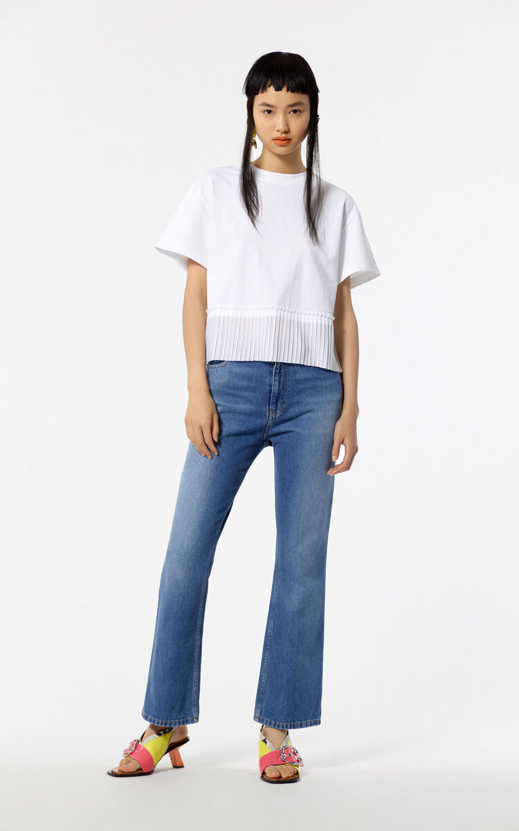 WHITE Short pleated top for women KENZO