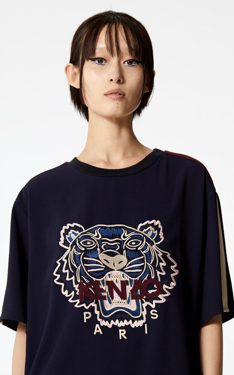 NAVY BLUE Tiger crepe dress for women KENZO