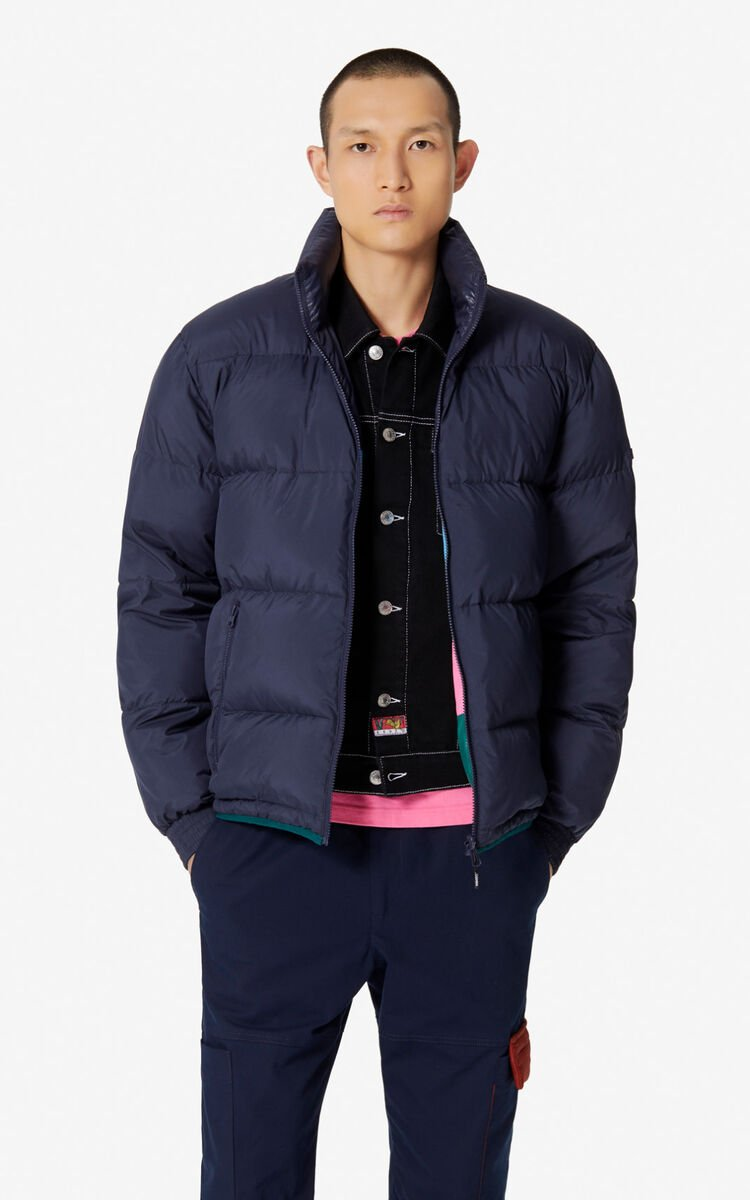 NAVY BLUE Reversible colour-block puffer jacket for men KENZO
