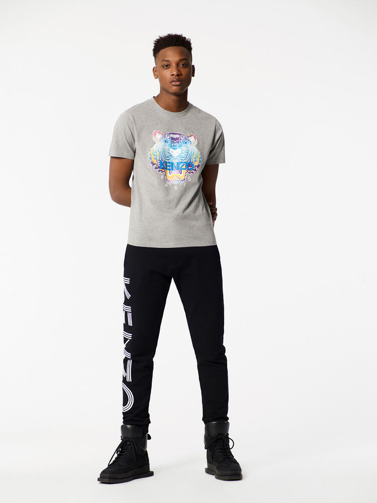 DOVE GREY Rainbow Tiger T-shirt for men KENZO