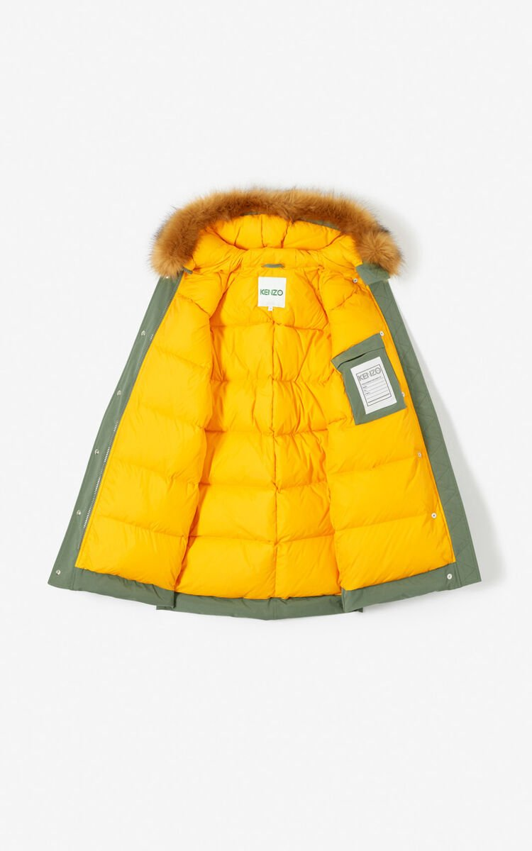 KAKI MOLESKIN Long parka jacket with hood for women KENZO
