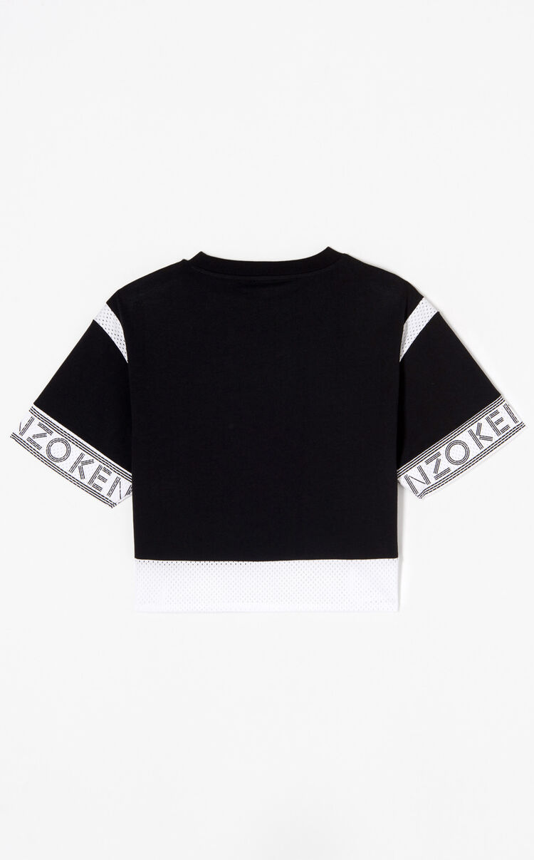 BLACK Dual fabric KENZO Logo t-shirt for women