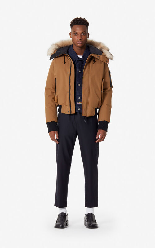 DARK CAMEL Puffa down jacket for men KENZO
