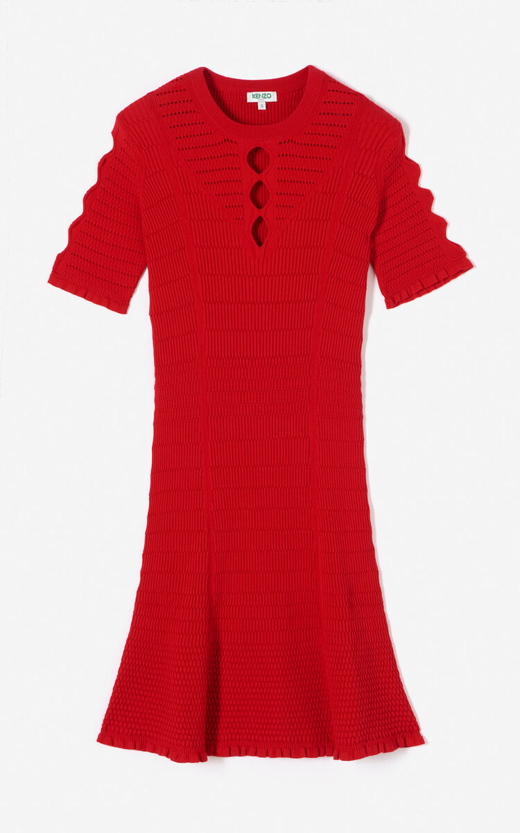 MEDIUM RED Openwork dress for women KENZO