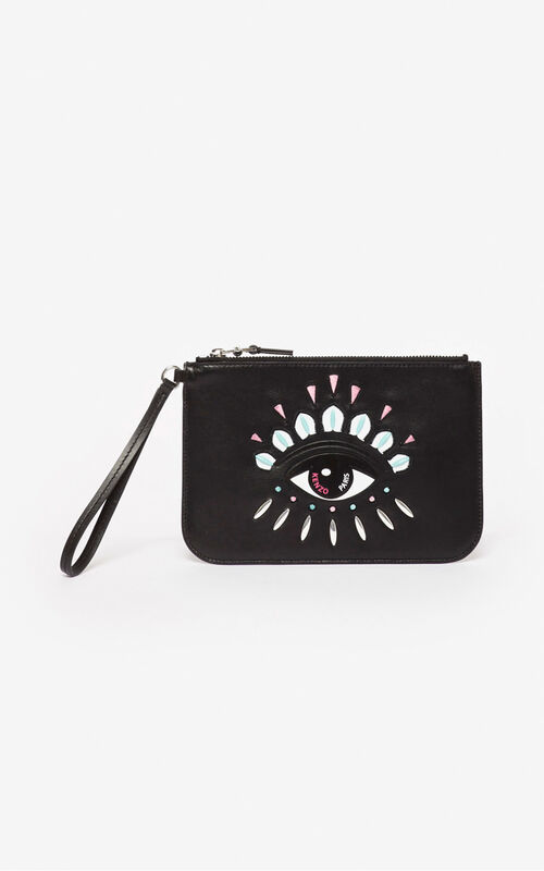 BLACK A5 Kontact Eye clutch for women KENZO
