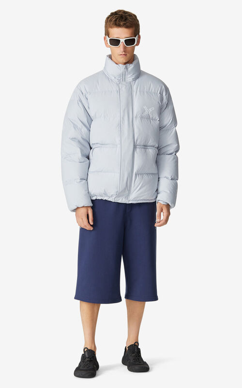 PALE GREY KENZO Sport 'Little X' puffer jacket for women