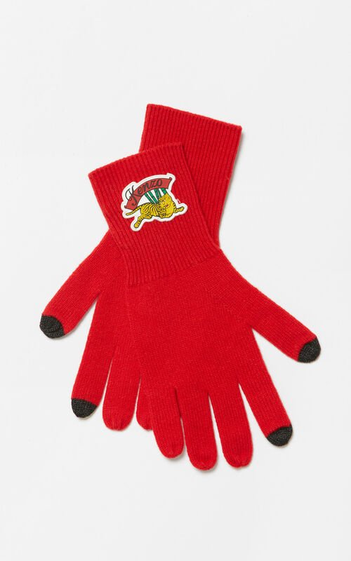 MEDIUM RED 'Jumping Tiger' gloves for unisex KENZO