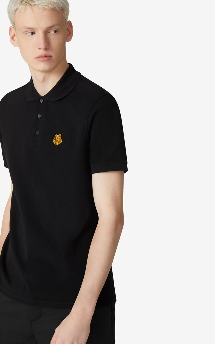 BLACK Tiger Crest polo for men KENZO