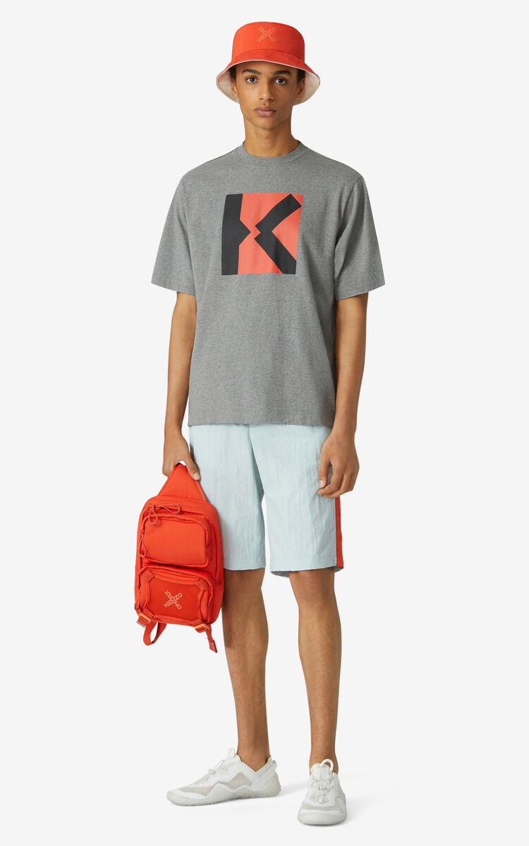 DOVE GREY KENZO Sport 'Blocked K' oversize T-shirt for men