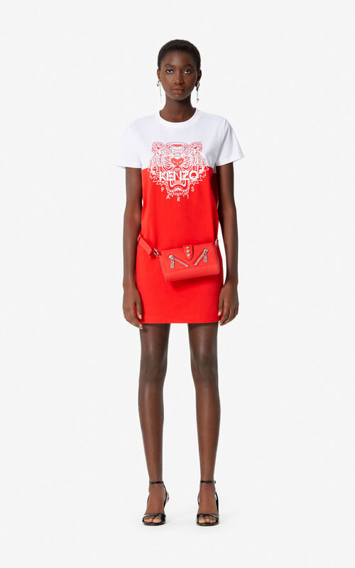 MEDIUM RED 'Colorblock Tiger' t-shirt dress for women KENZO