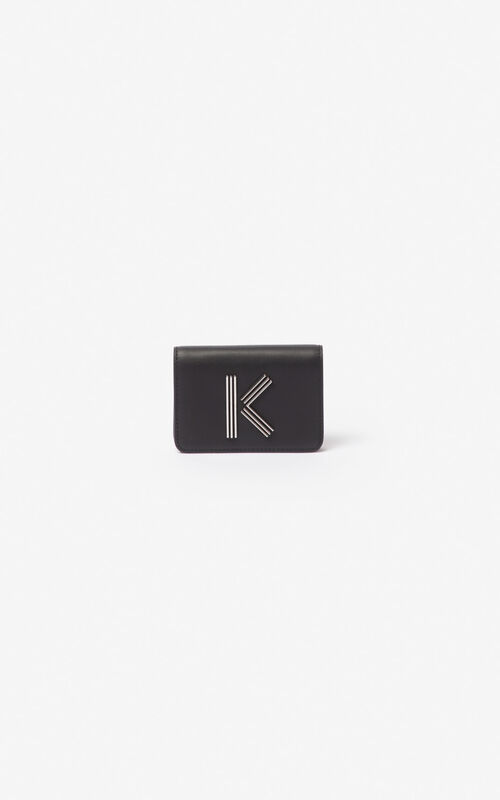 BLACK K-Bag leather coin purse for women KENZO