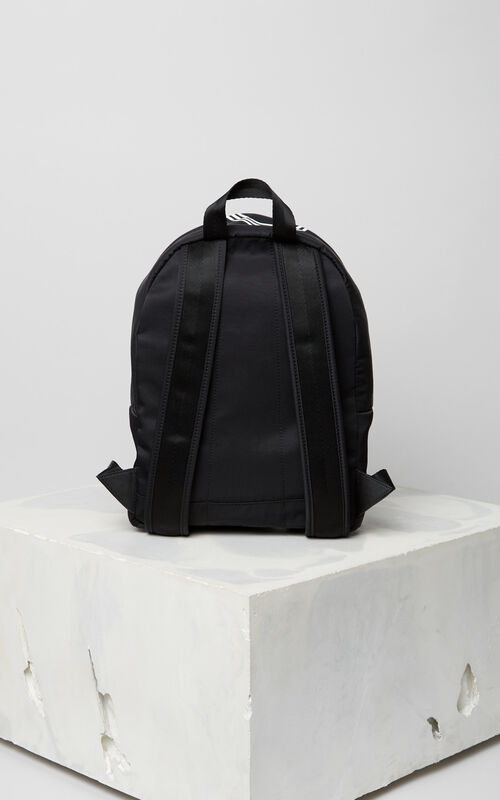 BLACK Medium KENZO Logo backpack for men