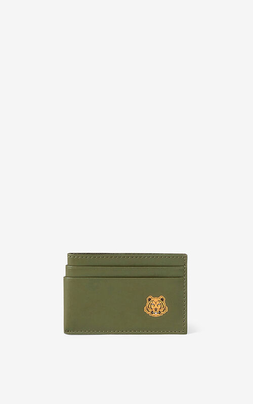 KHAKI Tiger Crest leather card holder for unisex KENZO