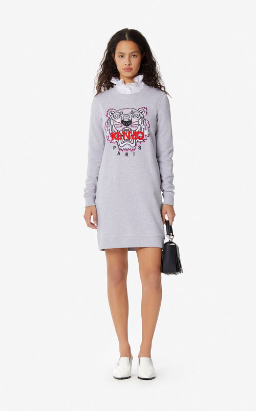 804ba25778 PALE GREY Tiger sweatshirt dress for women KENZO ...