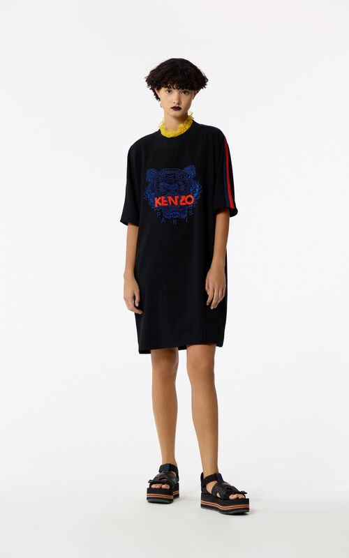 BLACK Tiger crepe dress for women KENZO