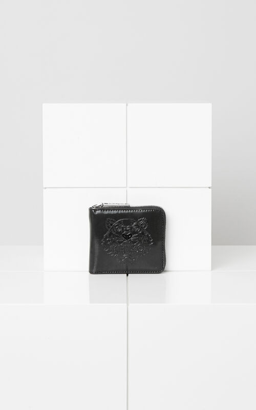 BLACK Metallic Tiger Square Wallet for unisex KENZO