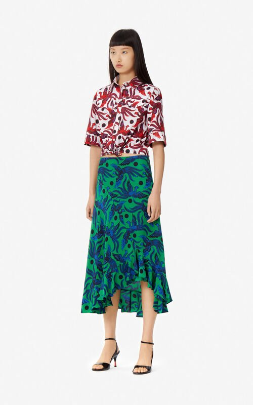 BOTTLE GREEN 'Flying Phoenix' silk skirt for women KENZO