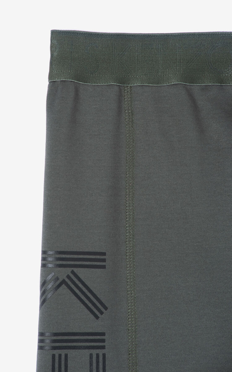 DARK KHAKI KENZO logo cycle shorts for women
