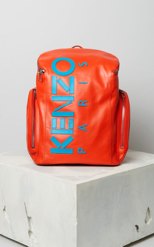 MEDIUM RED KENZO leather Logo Backpack for men