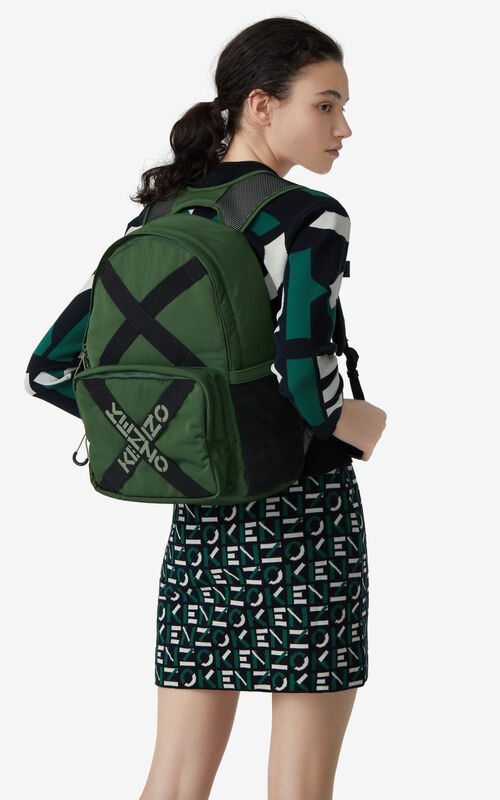 DARK KHAKI KENZO Sport backpack for women