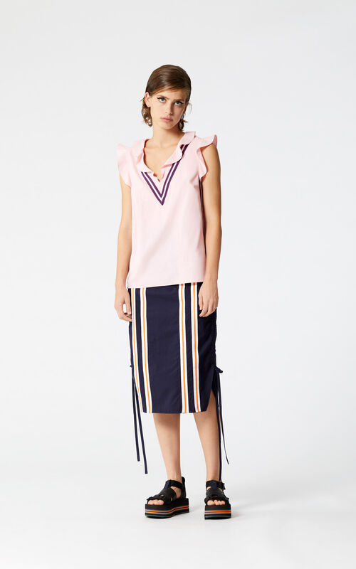 NAVY BLUE 'High Summer Capsule Collection' Pencil skirt with drawstring for women KENZO