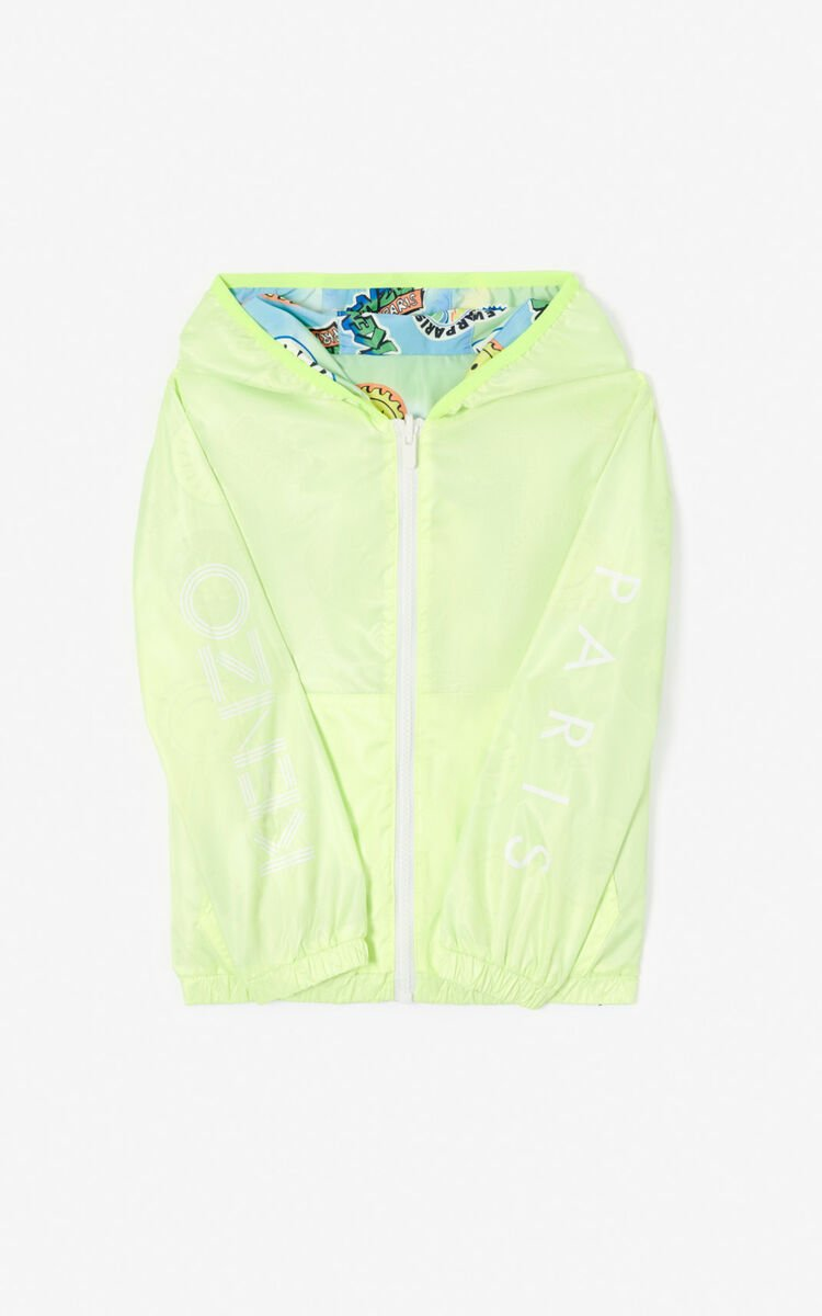 GOLDEN YELLOW Reversible KENZO Logo and 'Cali Party' Windcheater for men