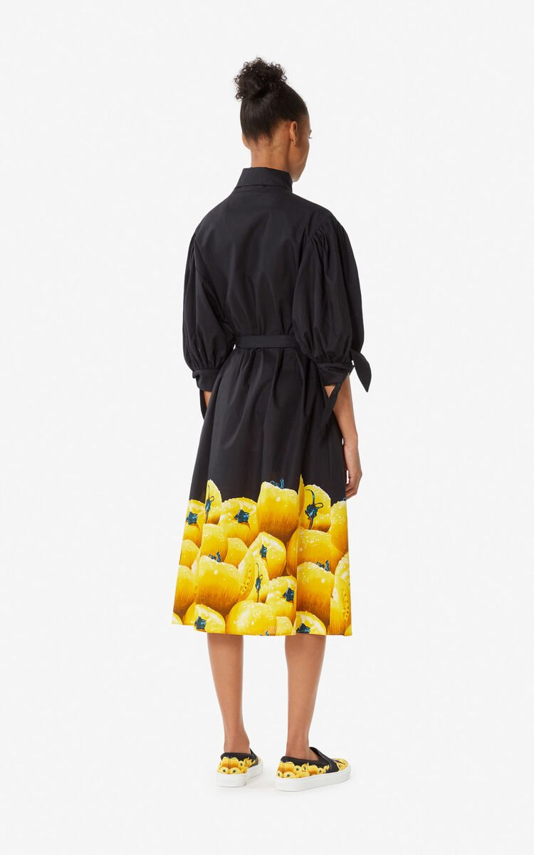 GOLDEN YELLOW 'Tomato' shirt dress for global.none KENZO