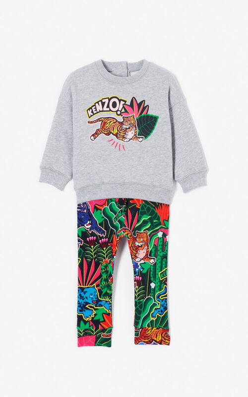 MIDDLE GREY 'Fantastic Jungle' sweatshirt and legging set for women KENZO
