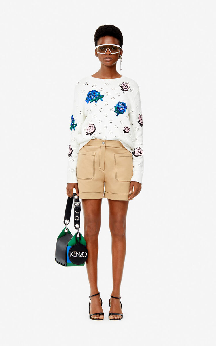 WHITE Openwork 'Roses' jumper for women KENZO